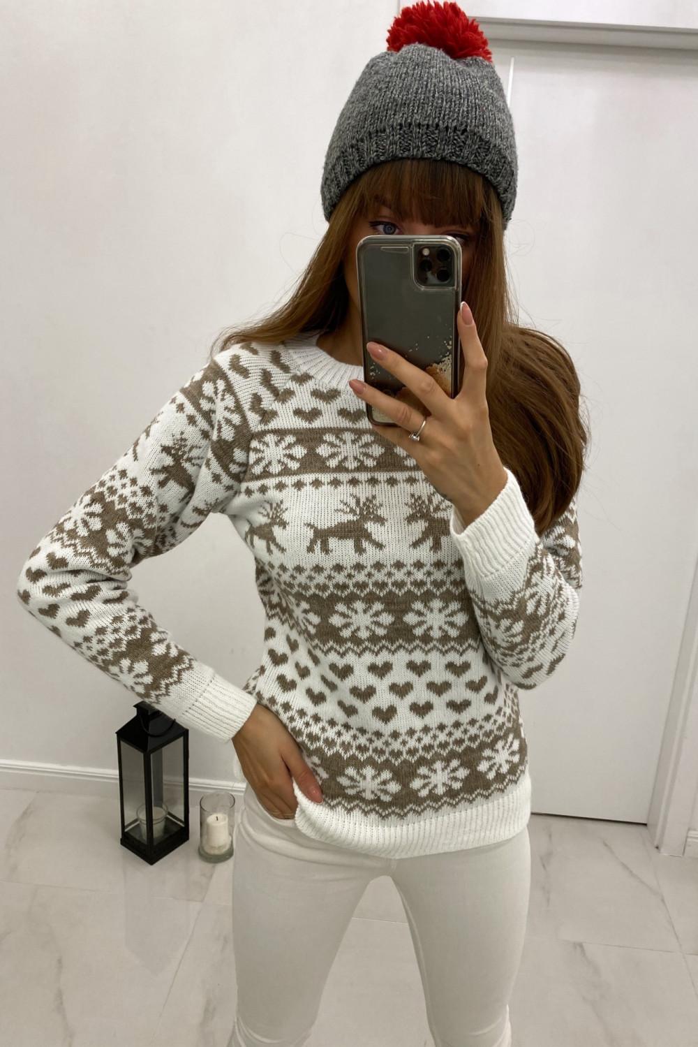Świąteczny biały sweter Snowflakes 1