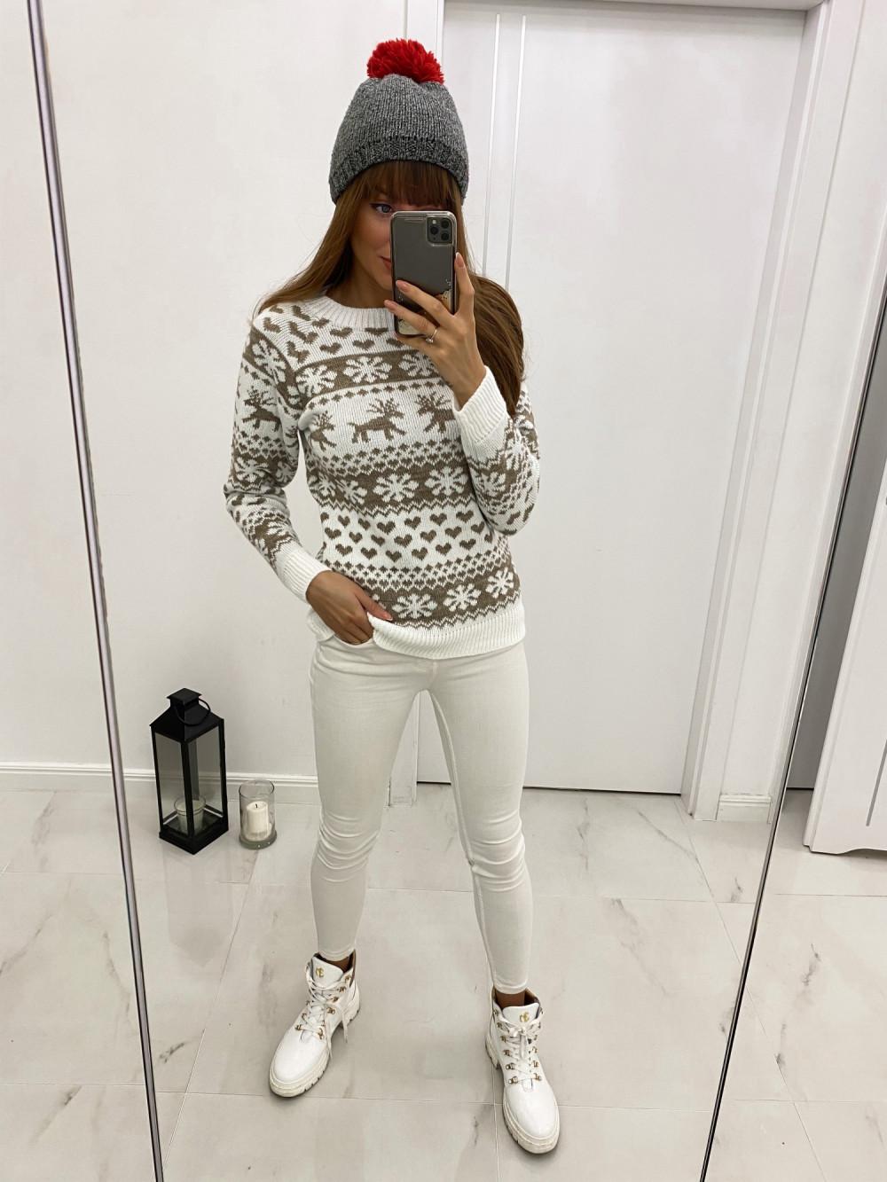 Świąteczny biały sweter Snowflakes 2