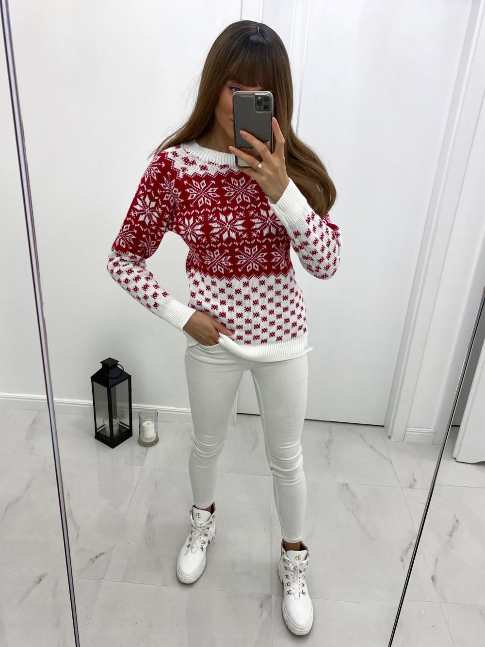 Biały świąteczny sweter Snow 2