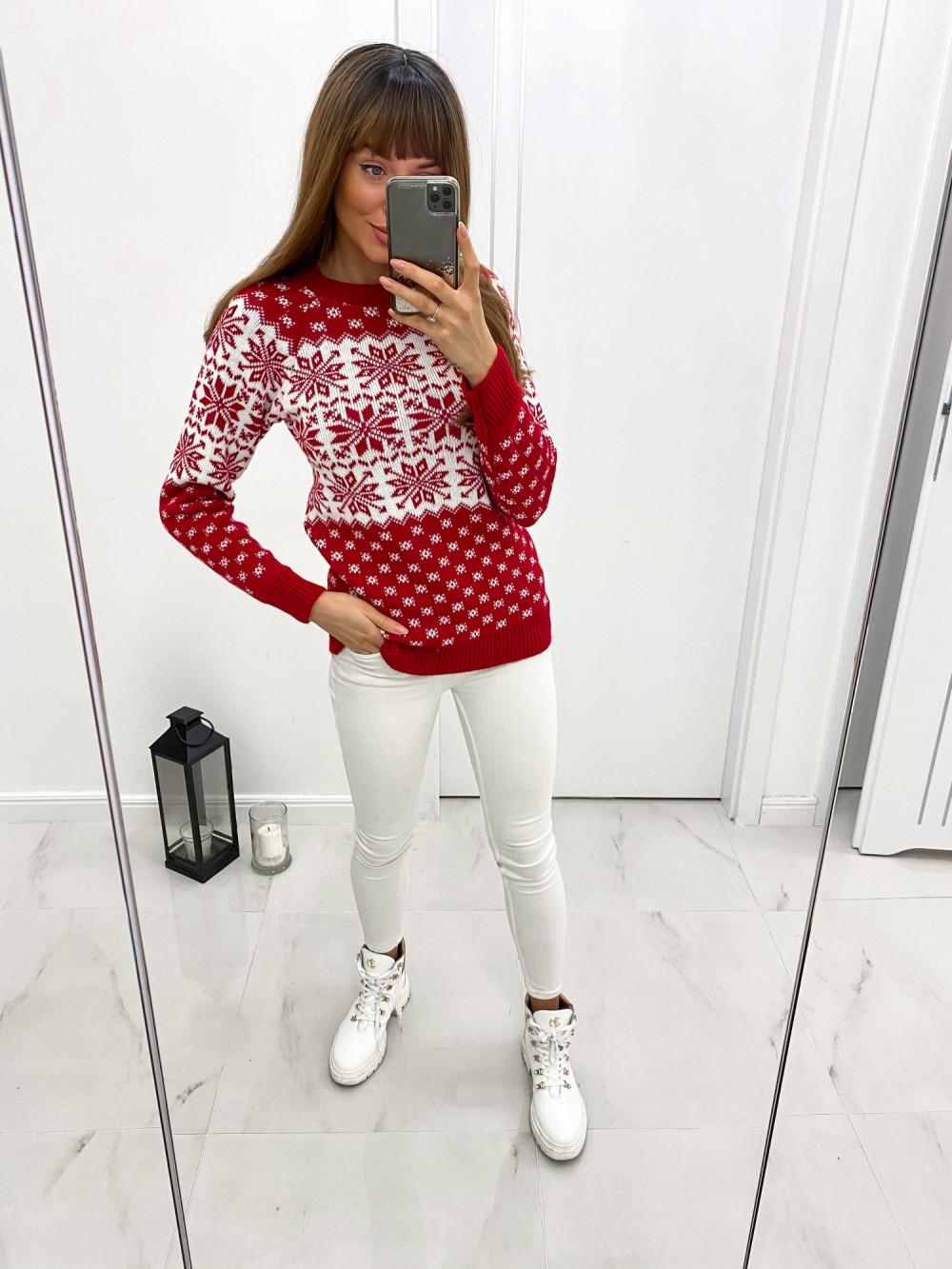 Czerwony świąteczny sweter Snow 2