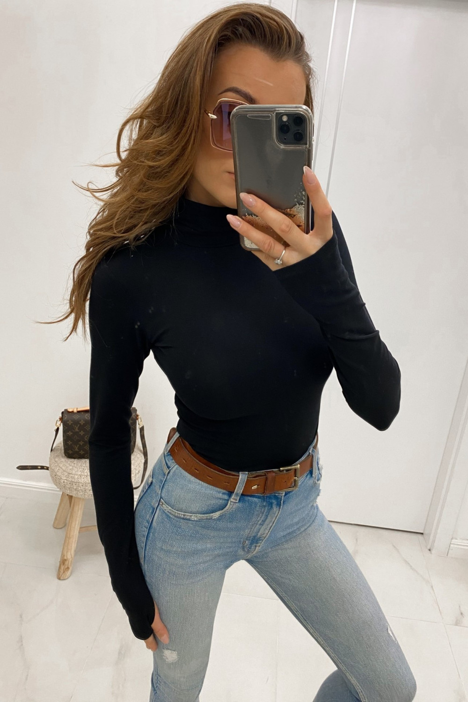 Czarna bluzka z golfem Ashley 1