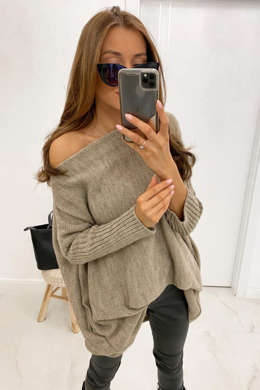 Brązowy sweter tunika Olivia 1