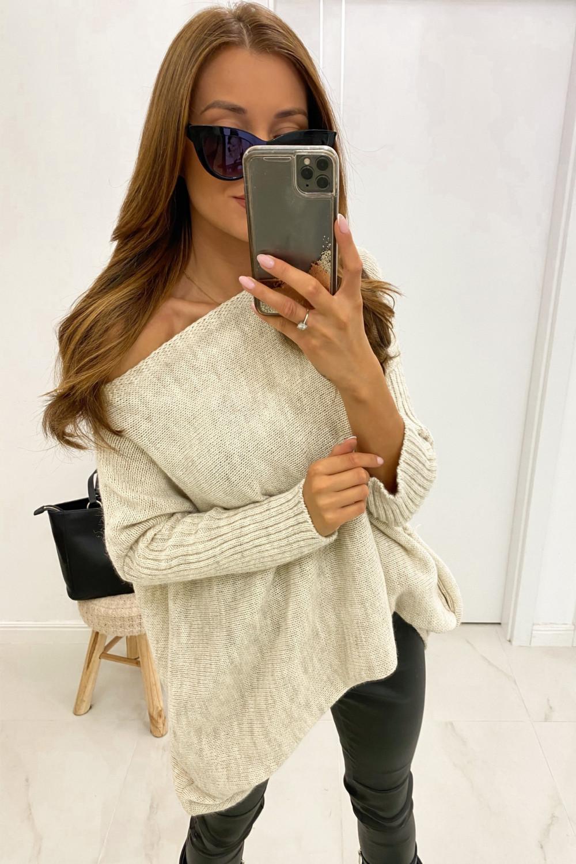 Beżowy sweter tunika Olivia 1