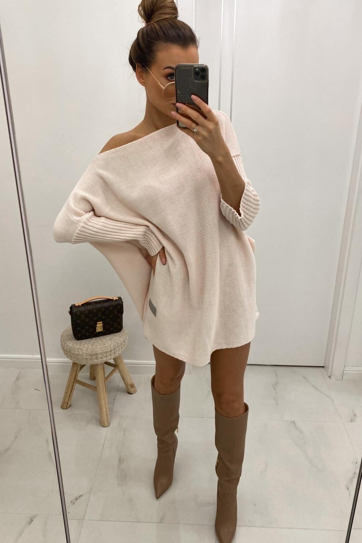 Różowy sweter tunika Olivia 1
