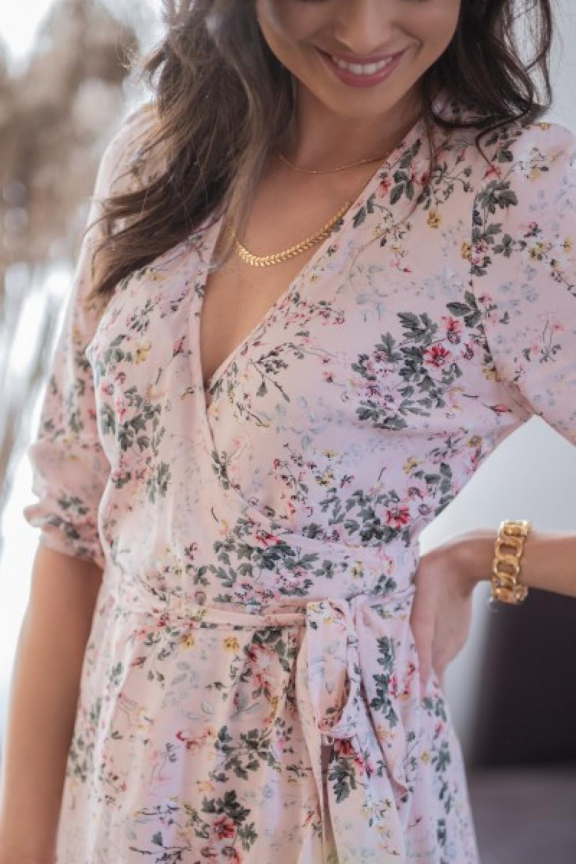 Pudrowo różowa kwiatowa sukienka rozkloszowana z falbankami V-Neck Scarlett 3