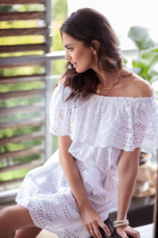 Biała ażurowa sukienka hiszpanka z falbankami Kaylee 3