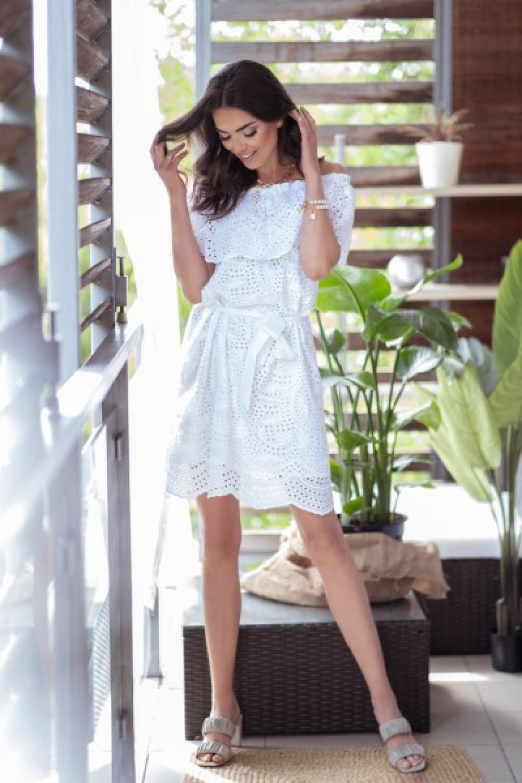 Biała ażurowa sukienka hiszpanka z falbankami Kaylee 2