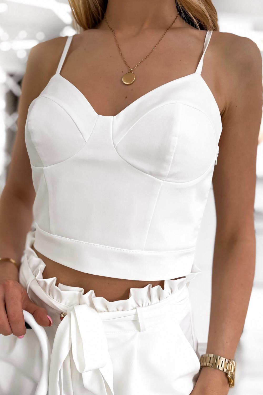 Biały komplet damski gorset i krótkie spodenki Penelope 7