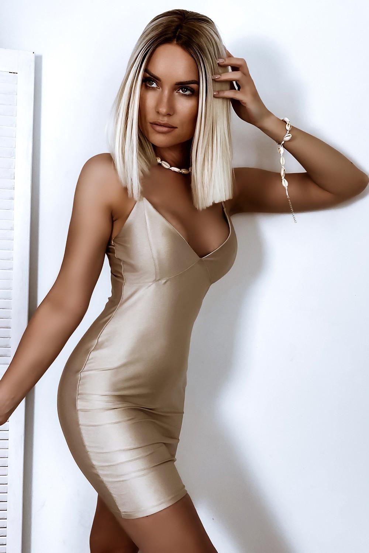 Beżowa dopasowana sukienka na ramiączkach Madison 1