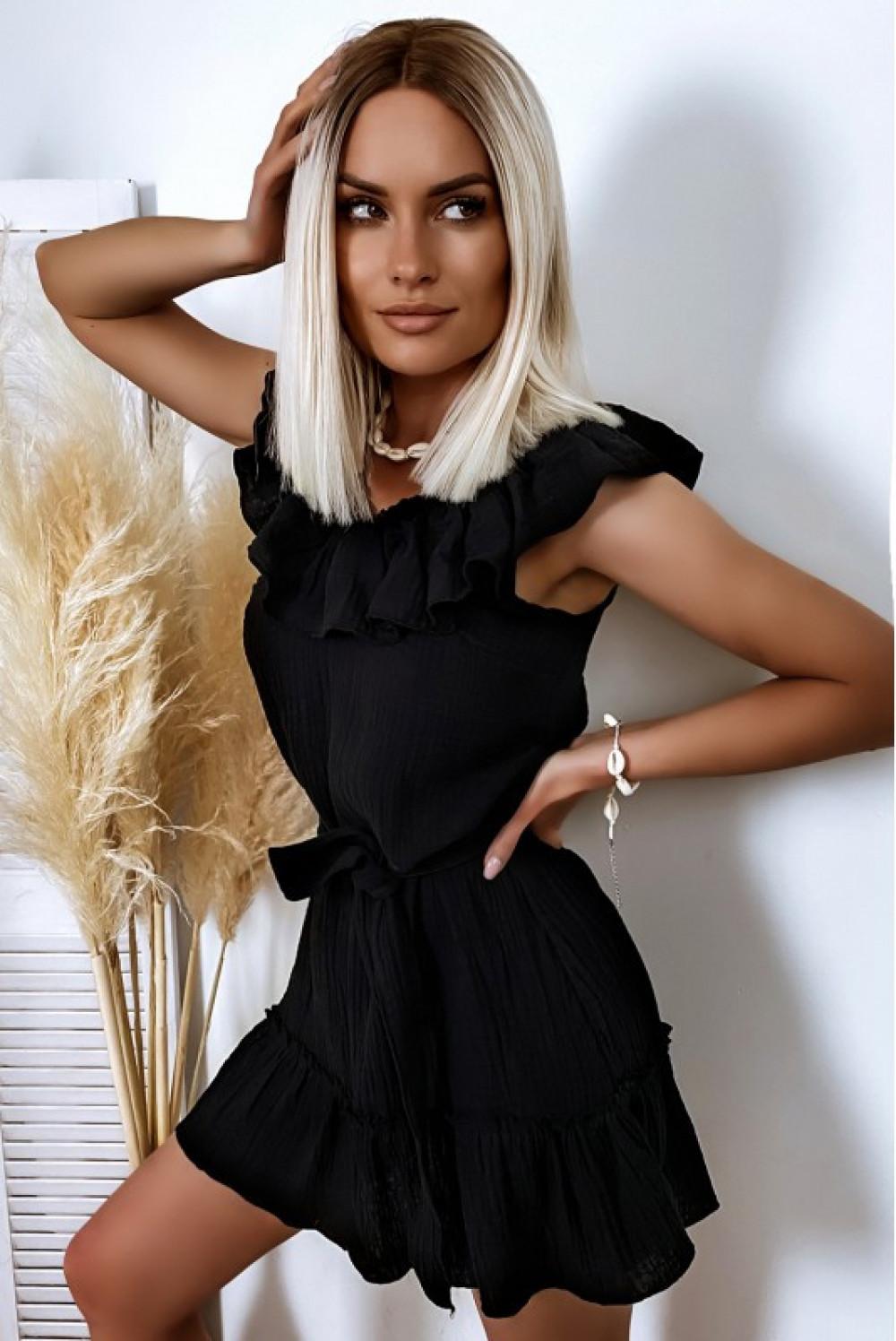 Czarna rozkloszowana sukienka z falbankami hiszpanka boho Elena 1