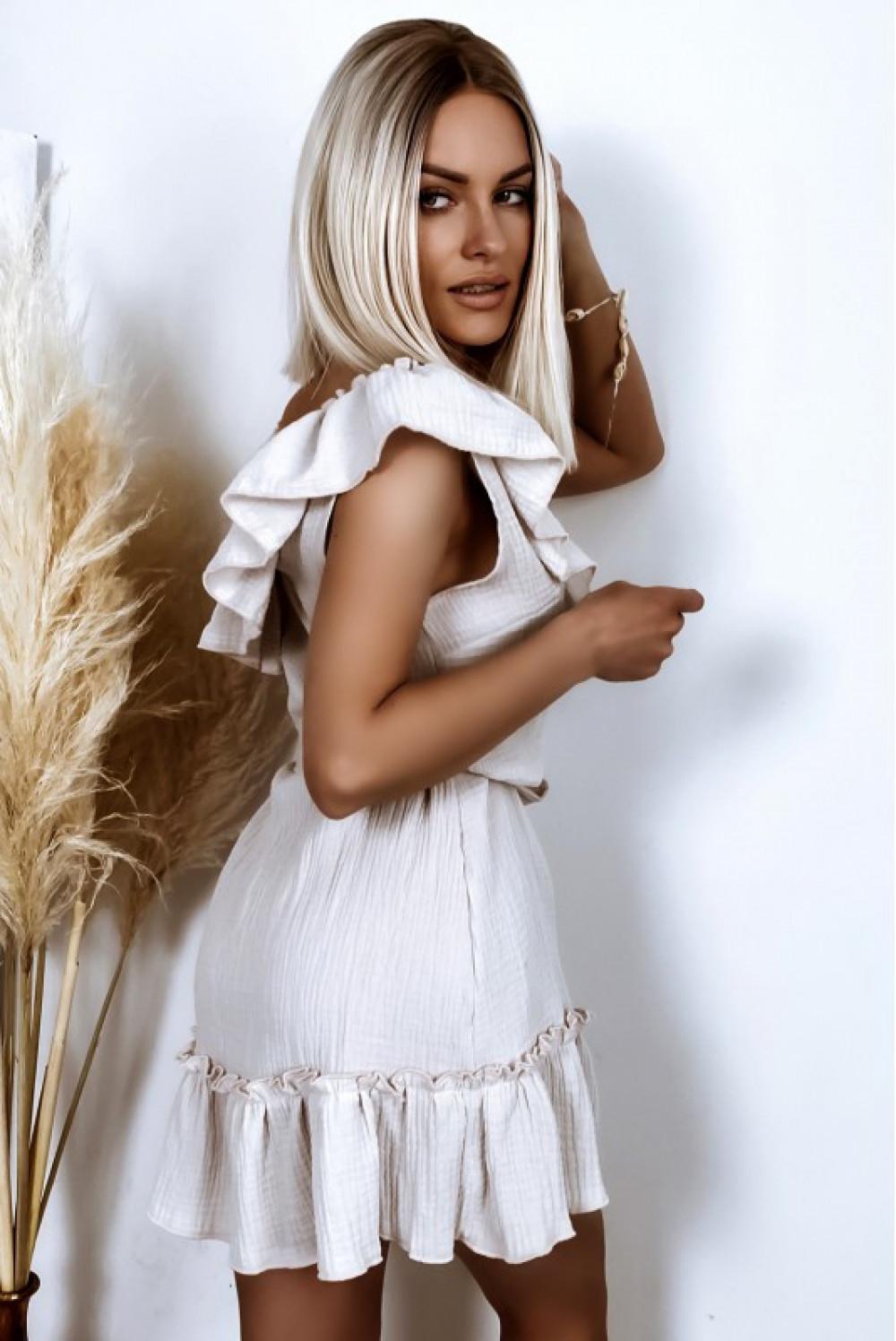 Beżowa rozkloszowana sukienka z falbankami hiszpanka boho Elena 2