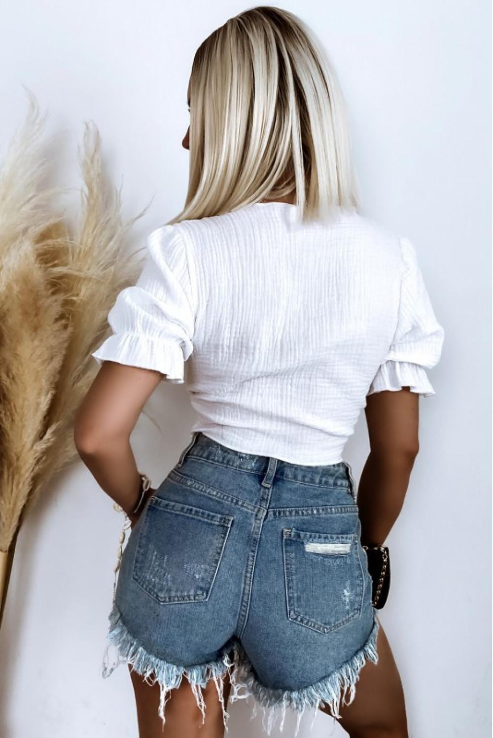 Biały wiązany crop top boho Kaylee 2