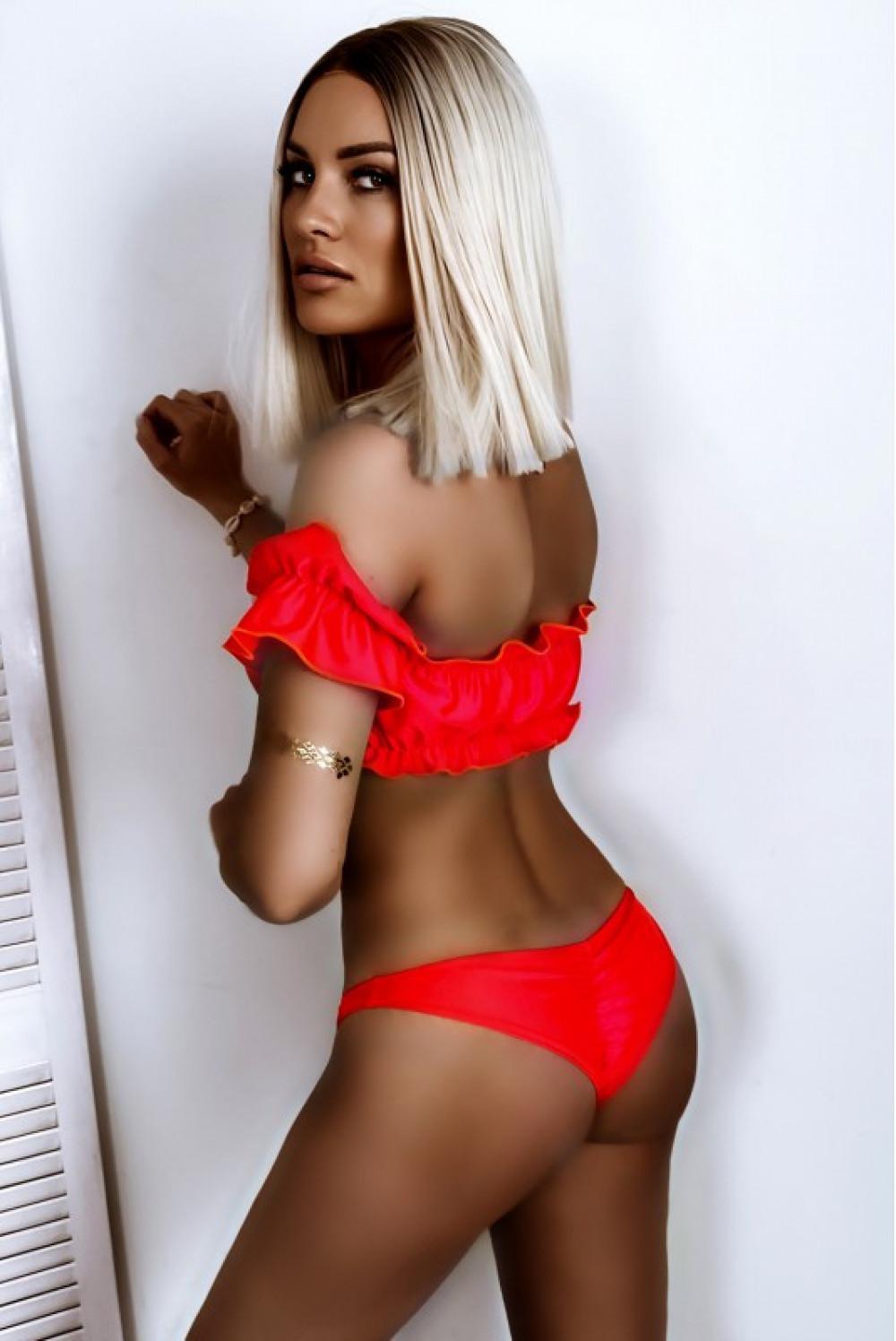 Neonowo koralowe bikini z topem hiszpanką Leah 2