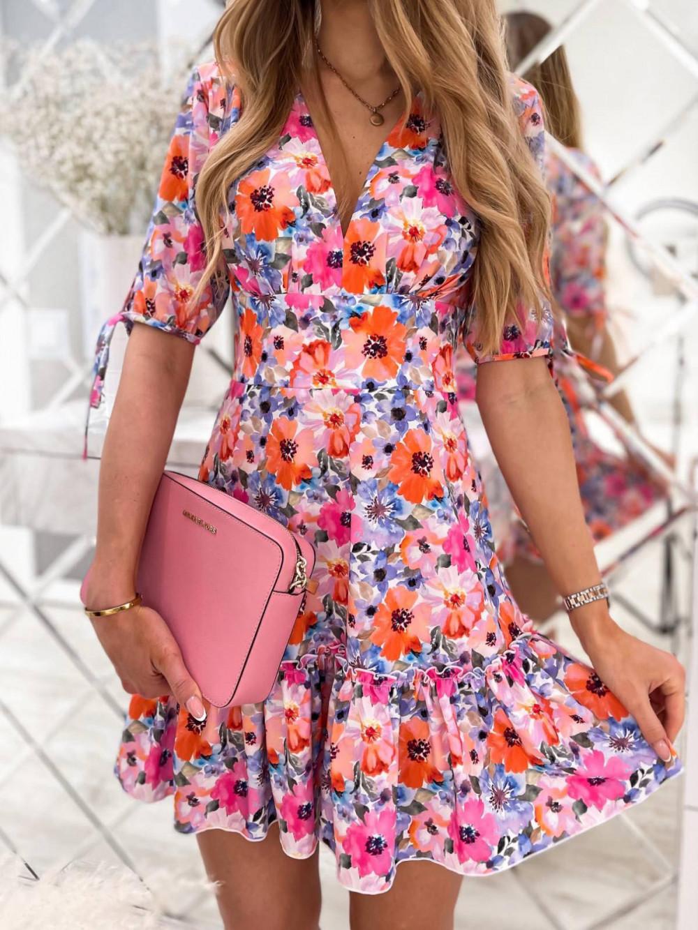 Różowo-niebieska kwiatowa sukienka rozkloszowana z falbankami V-Neck Evelyn 2