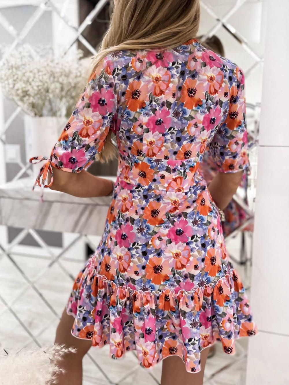 Różowo-niebieska kwiatowa sukienka rozkloszowana z falbankami V-Neck Evelyn 4
