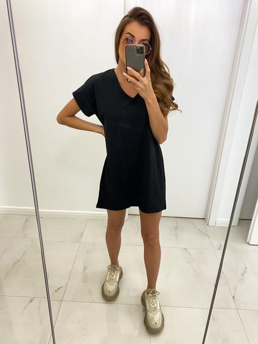 Czarna luźna sukienka V-Neck z krótkim rękawkiem Willow 2