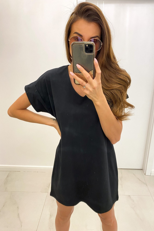 Czarna luźna sukienka V-Neck z krótkim rękawkiem Willow 1