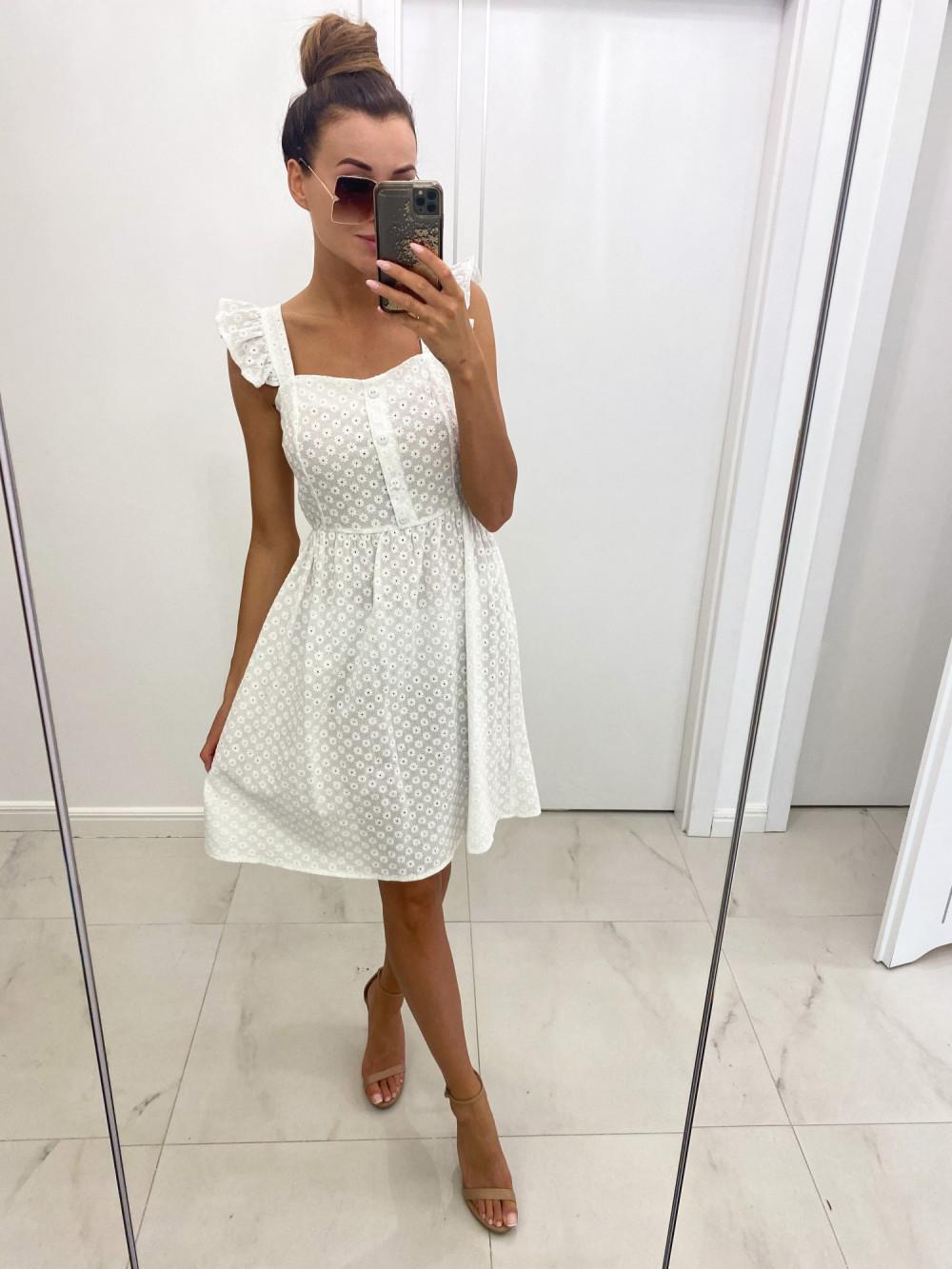 Biała haftowana sukienka rozkloszowana na ramiączkach Serenity 2
