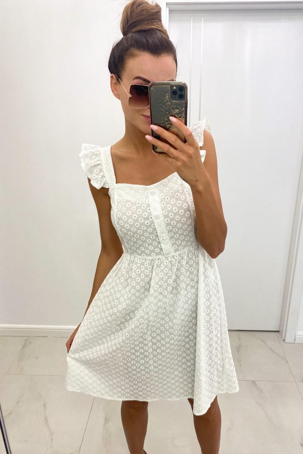 Biała haftowana sukienka rozkloszowana na ramiączkach Serenity 1