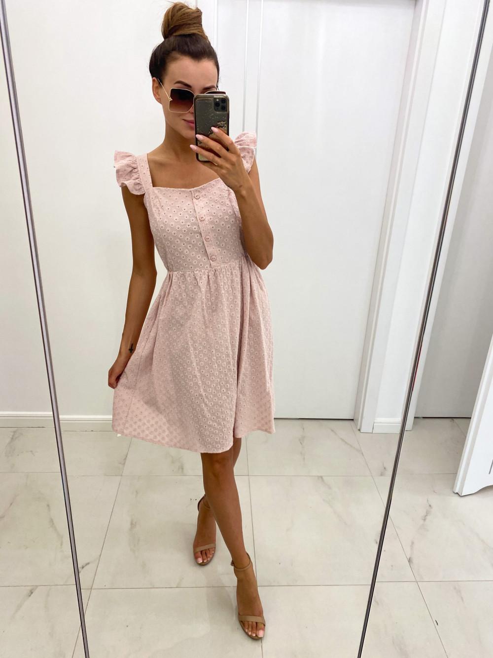 Jasnoróżowa haftowana sukienka rozkloszowana na ramiączkach Serenity 2