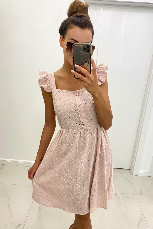 Jasnoróżowa haftowana sukienka rozkloszowana na ramiączkach Serenity 1