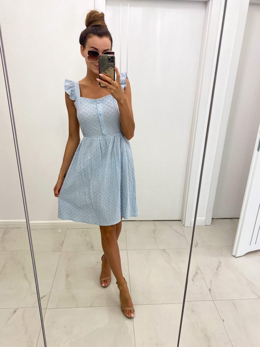 Jasnoniebieska haftowana sukienka rozkloszowana na ramiączkach Serenity 2