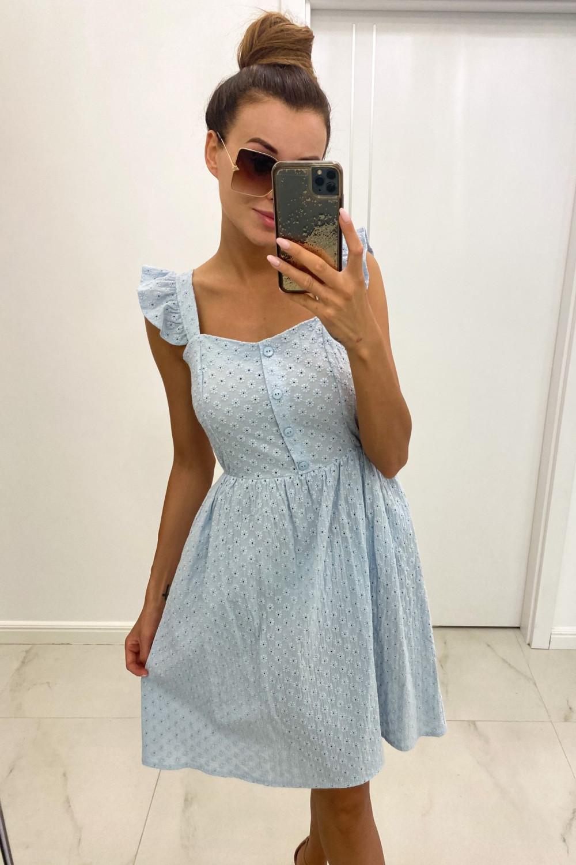 Jasnoniebieska haftowana sukienka rozkloszowana na ramiączkach Serenity 1