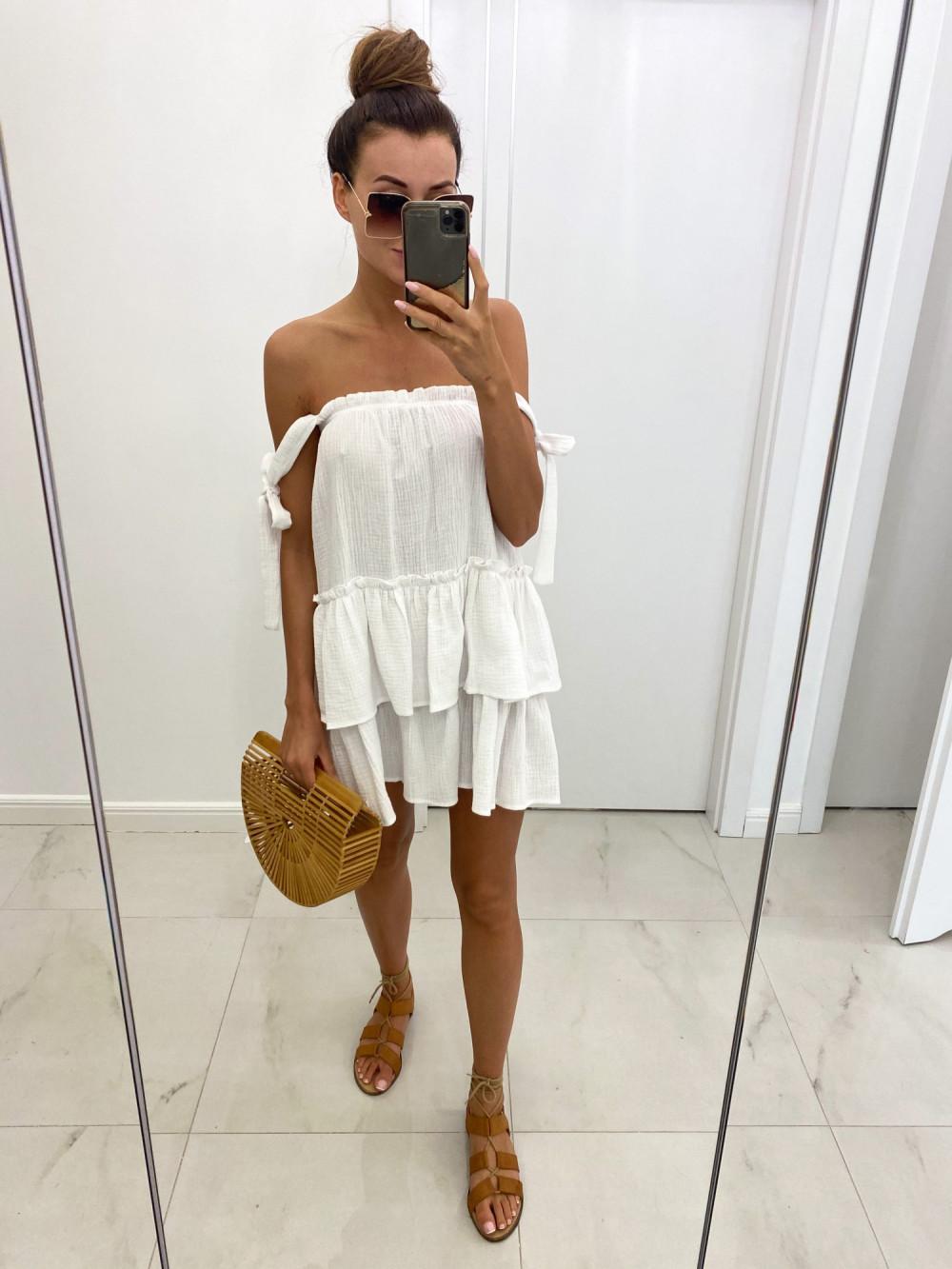 Biała luźna sukienka z falbankami boho Rose 6