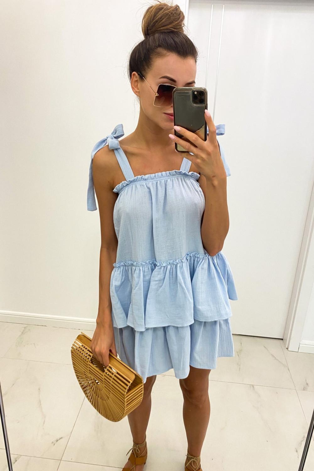 Jasnoniebieska luźna sukienka z falbankami boho Rose 5