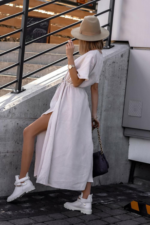 Beżowa muślinowa sukienka przekładana maxi Gabrielle 4