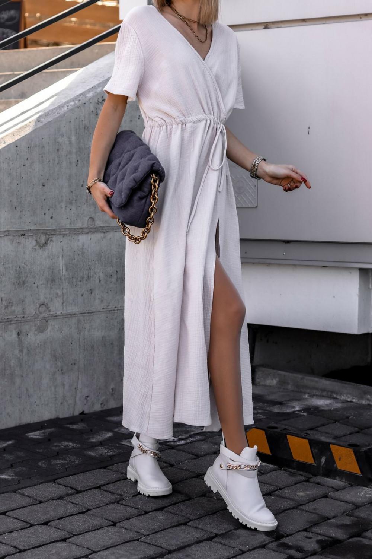 Beżowa muślinowa sukienka przekładana maxi Gabrielle 2