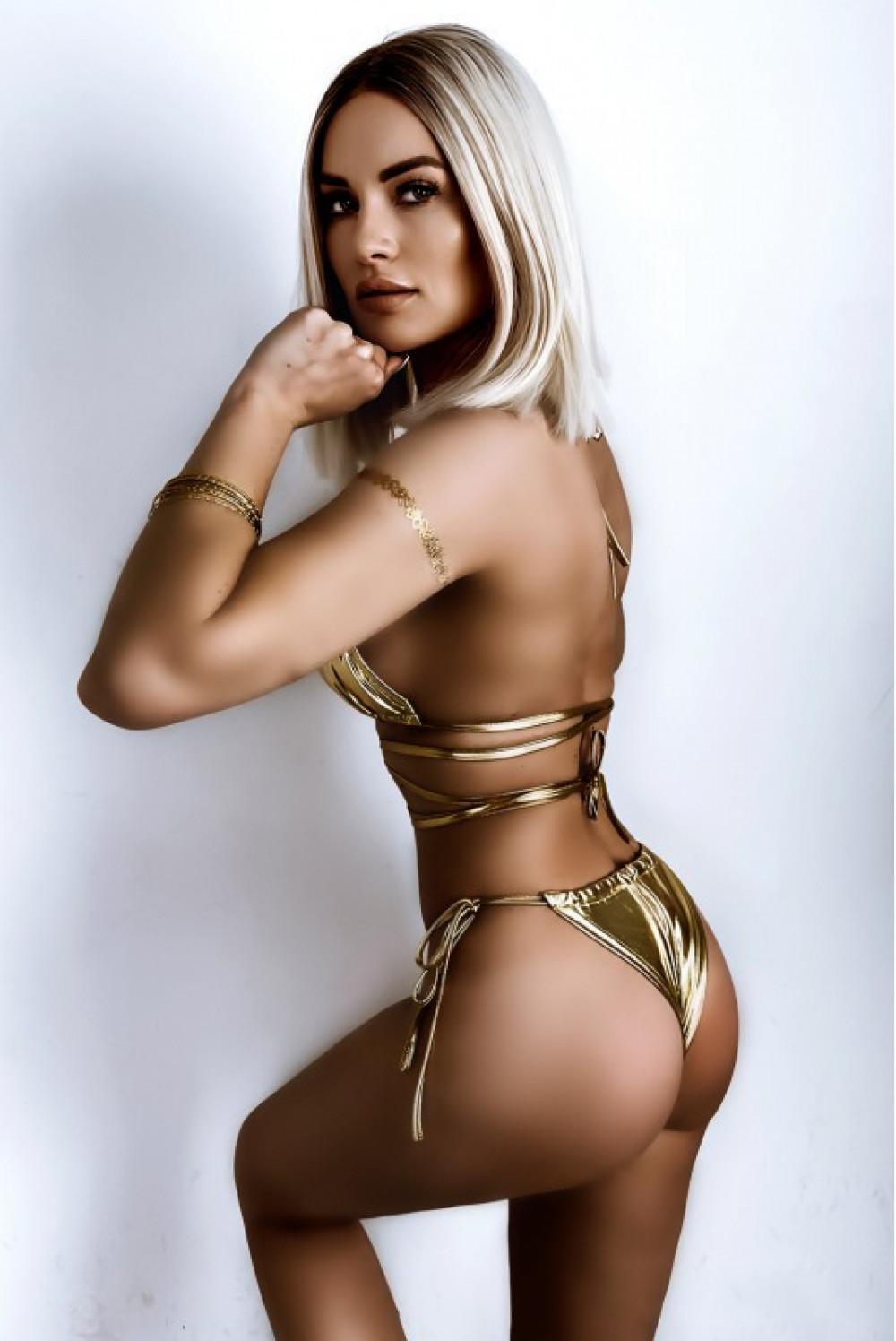 Złote błyszczące wiązane bikini Callie 2