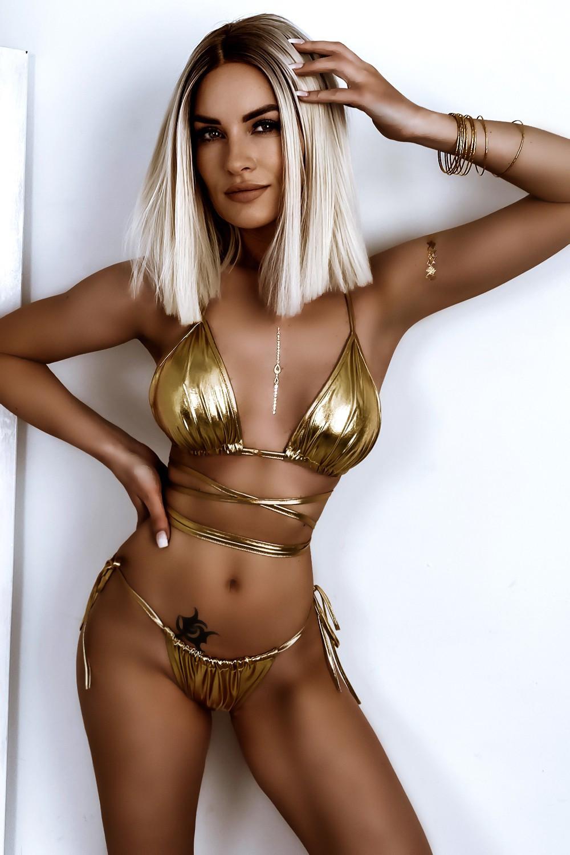 Złote błyszczące wiązane bikini Callie 1