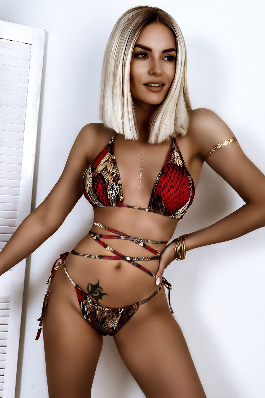 Czerwone wężowe wiązane bikini Callie 1