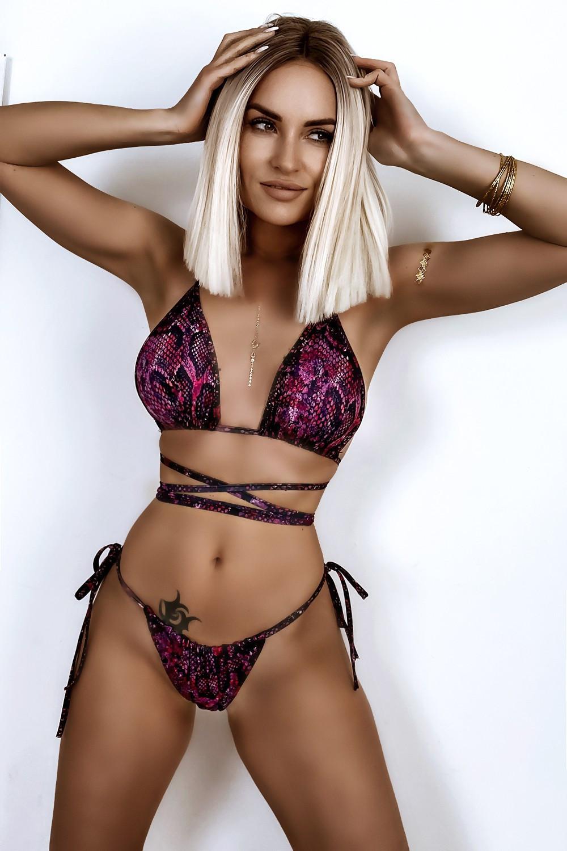 Fioletowe wężowe wiązane bikini Callie 1