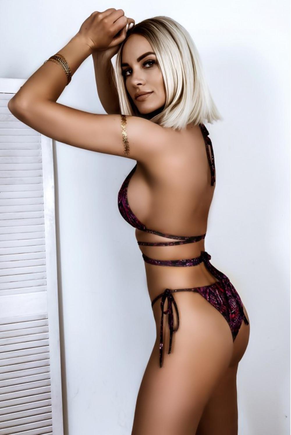 Fioletowe wężowe wiązane bikini Callie 2