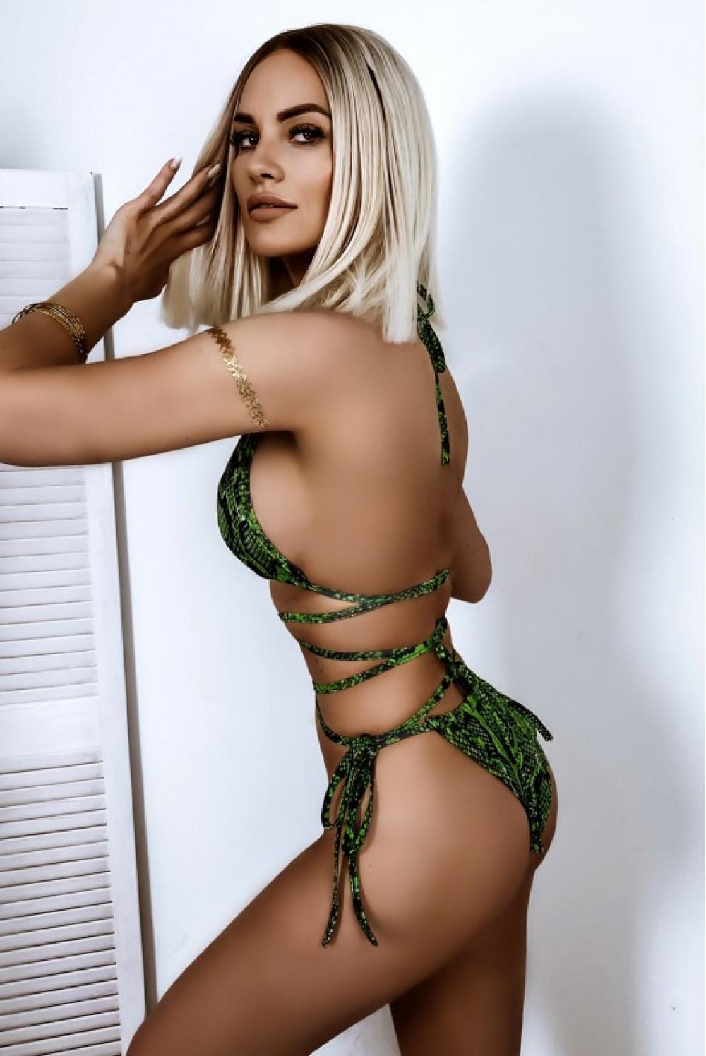 Zielone wężowe wiązane bikini Callie 2