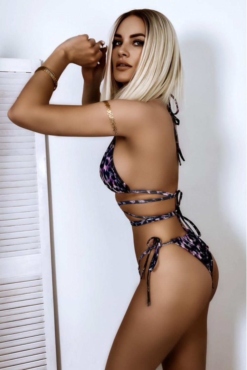 Fioletowe panterkowe wiązane bikini Callie 2