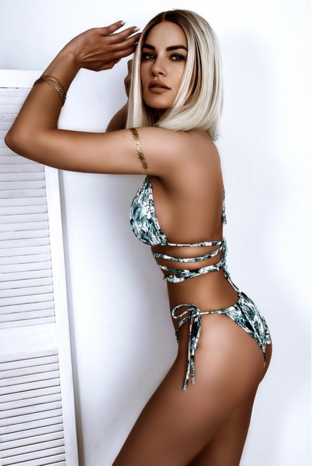 Biało-zielone wiązane bikini Callie 2