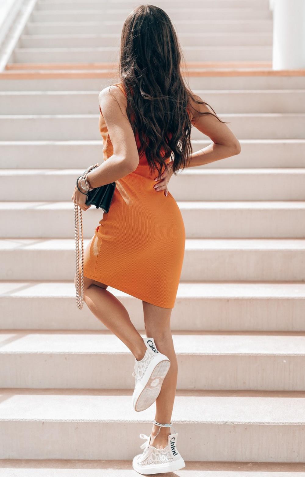 Pomarańczowa dopasowana sukienka V-Neck Sally 3