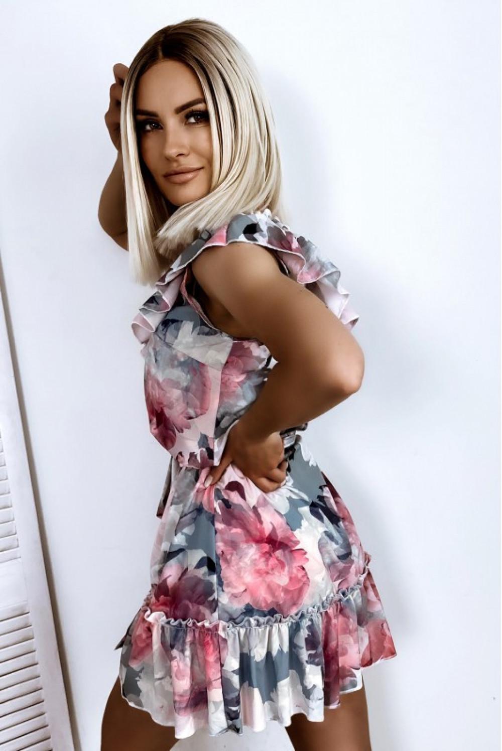 Szaro-różowa rozkloszowana sukienka z falbankami hiszpanka Elena 2