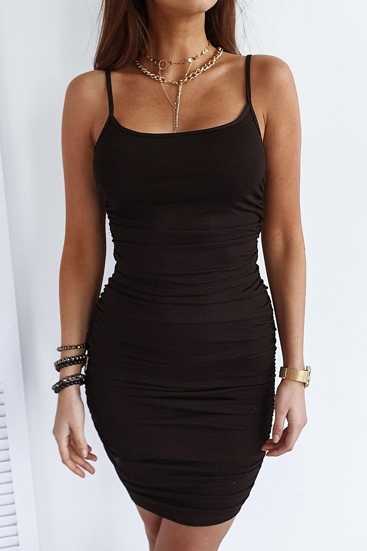 Czarna sukienka marszczona na ramiączkach Camelia 1