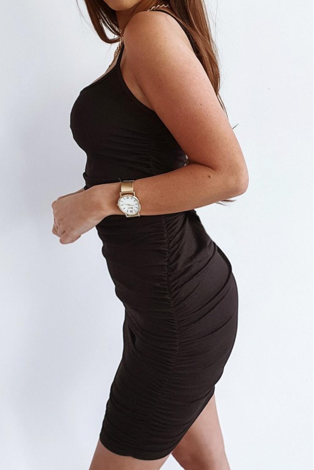 Czarna sukienka marszczona na ramiączkach Camelia 2