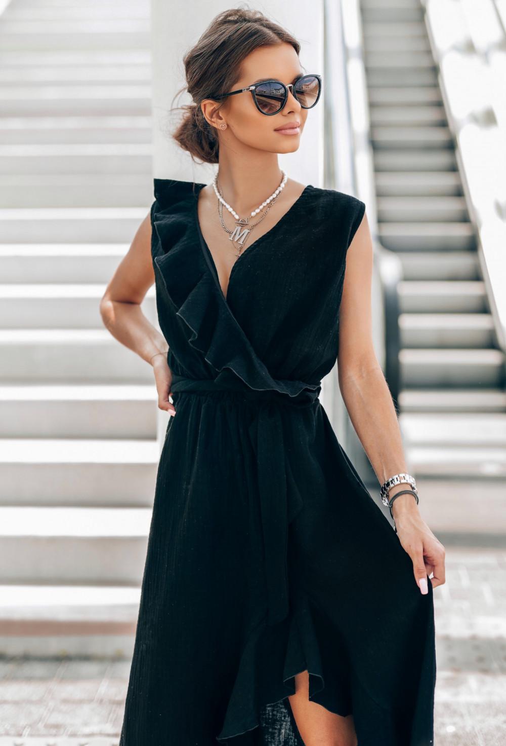 Czarna muślinowa asymetryczna sukienka z falbankami midi Aria 3