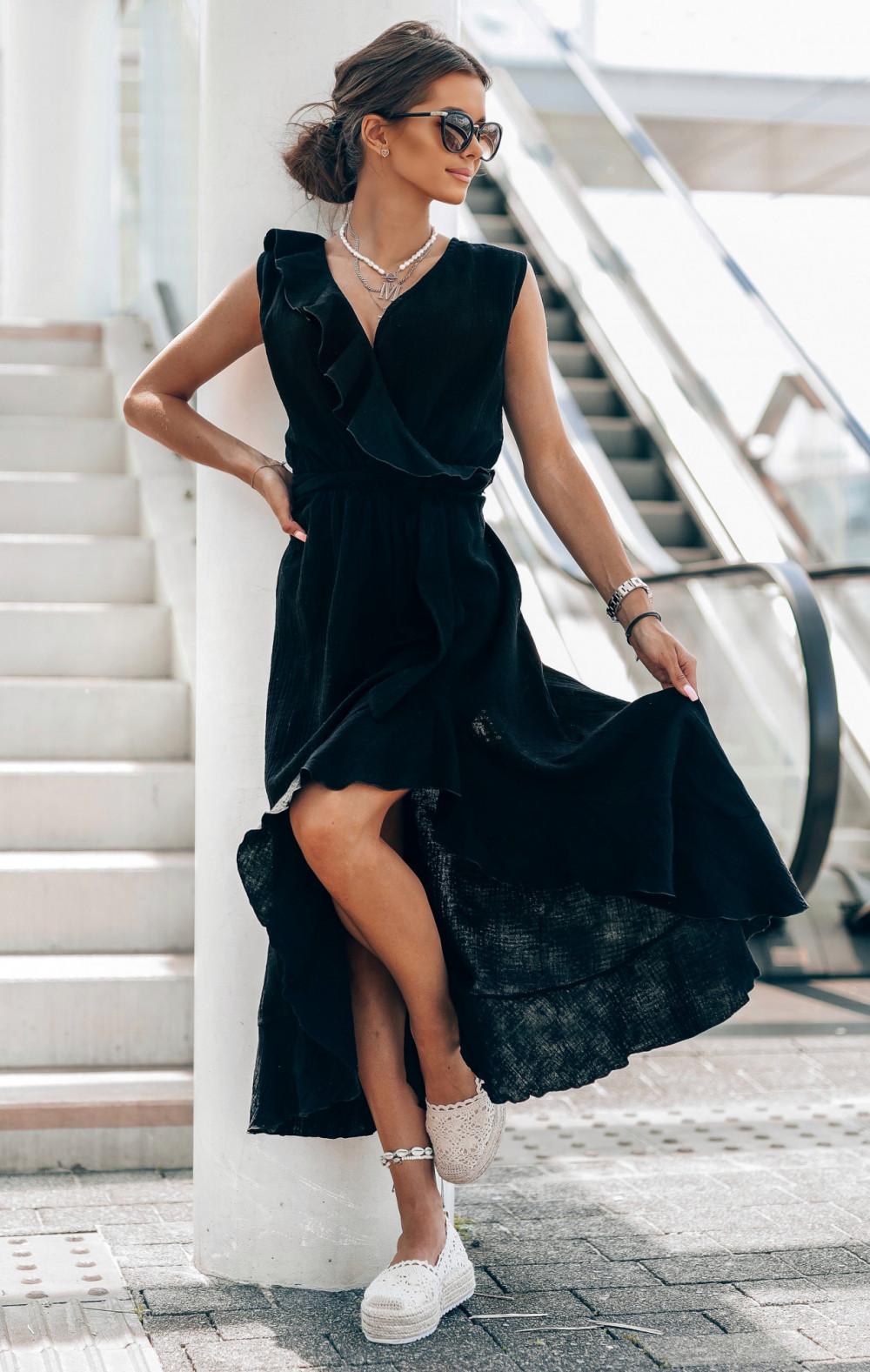 Czarna muślinowa asymetryczna sukienka z falbankami midi Aria 2