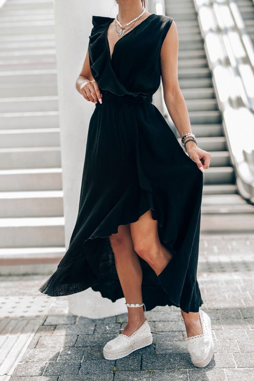 Czarna muślinowa asymetryczna sukienka z falbankami midi Aria 1