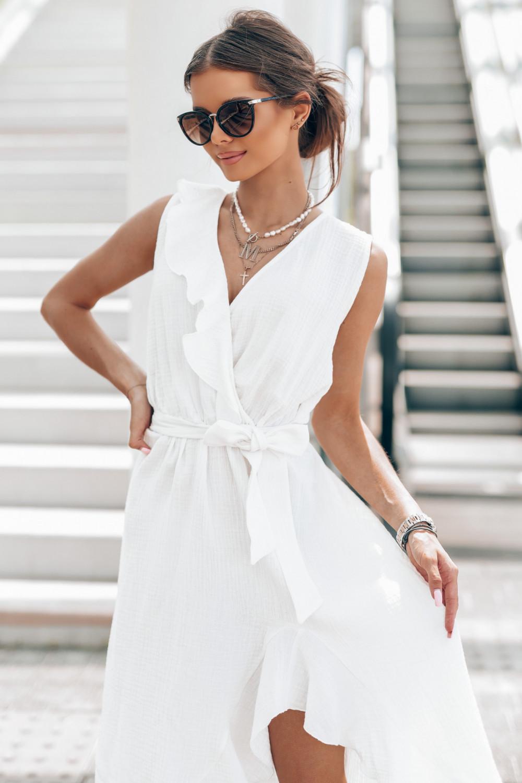 Biała muślinowa asymetryczna sukienka z falbankami midi Aria 3
