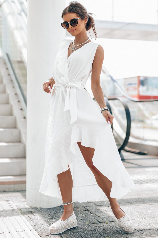 Biała muślinowa asymetryczna sukienka z falbankami midi Aria 1