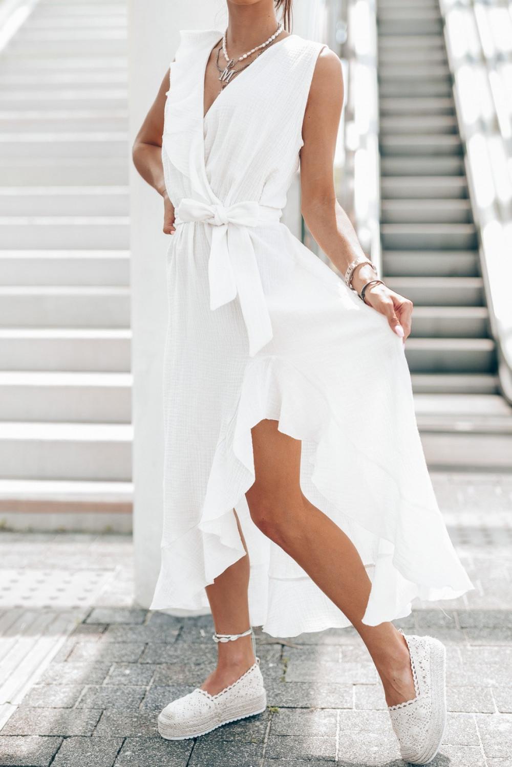 Biała muślinowa asymetryczna sukienka z falbankami midi Aria 2