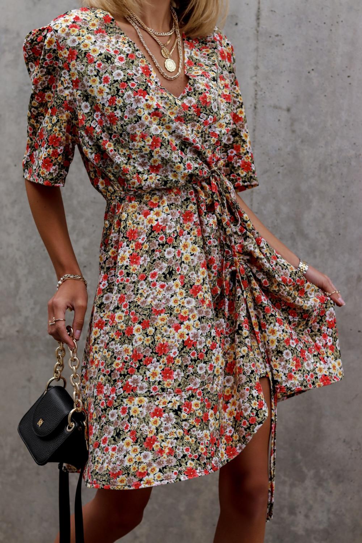 Kolorowa kwiatowa sukienka kopertowa V-Neck Aster 1